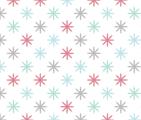 Starry Coral Mint Gray fabric by honey&fitz on Spoonflower - custom fabric