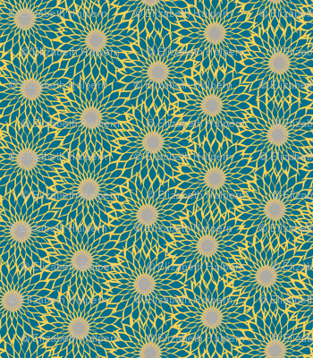 Sunflower Linework blue