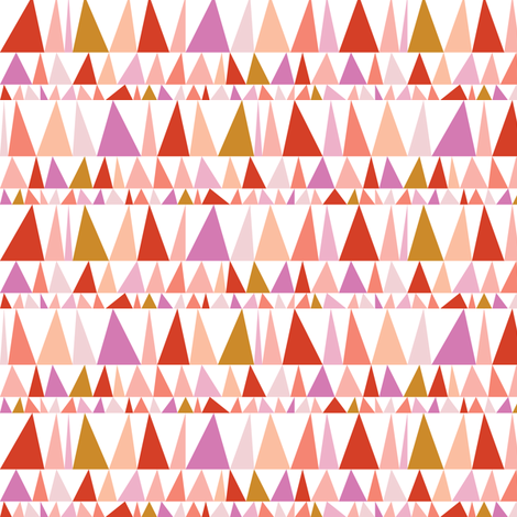 Christmas Tree Farm* (Reds & Pinks) || triangles stripes geometric abstract trees holiday fabric by pennycandy on Spoonflower - custom fabric