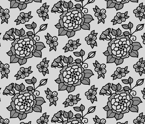 Black flocked velvet flower on silver fabric by victorialasher on Spoonflower - custom fabric