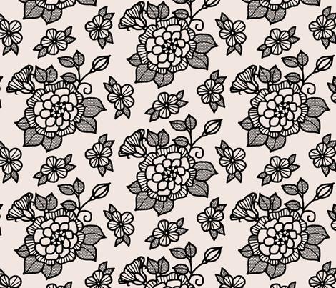 "Black ""flocked"" flower on cream fabric by victorialasher on Spoonflower - custom fabric"