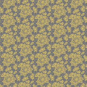 pale gold lace flower on medium gray