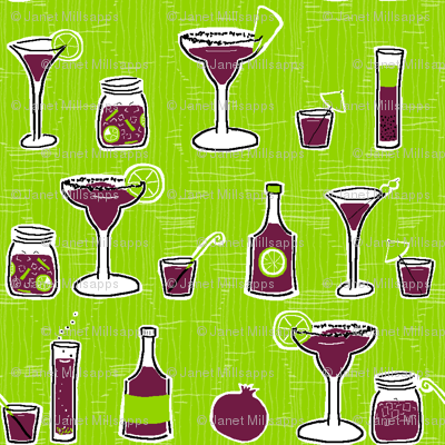 Pomegranate Cocktails on Lime