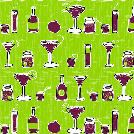 Pomegranate Cocktails on Lime fabric by fig+fence on Spoonflower - custom fabric