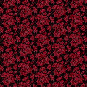 Dark pink lace flower on black