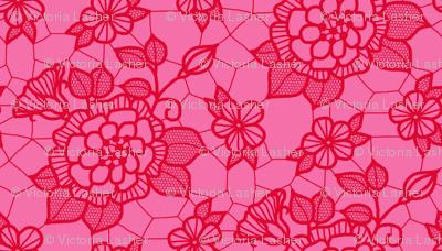 Dark pink lace flower on medium pink