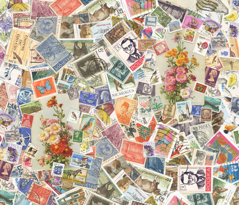 Postage stamp collage fabric by peppermintpatty on Spoonflower - custom fabric