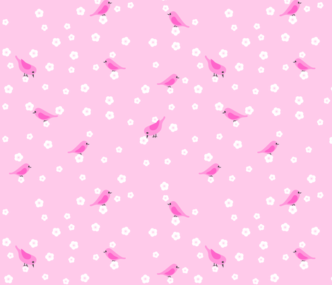 Bluebirds and Blossoms - Pink fabric by shelleymade on Spoonflower - custom fabric