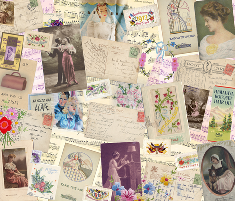 Vintage Romantic collage fabric by peppermintpatty on Spoonflower - custom fabric