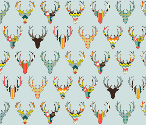 retro deer head Blaize blue fabric by scrummy on Spoonflower - custom fabric