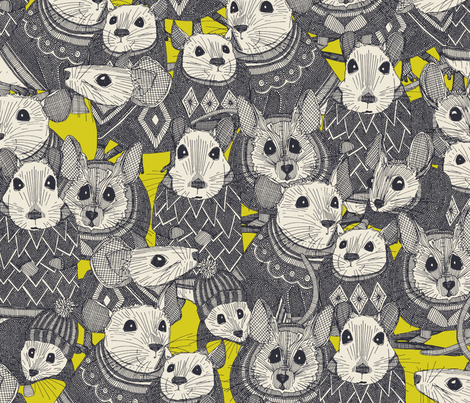 sweater mice chartreuse fabric by scrummy on Spoonflower - custom fabric