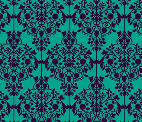 Persian Lattice turquoise fabric by flyingfish on Spoonflower - custom fabric
