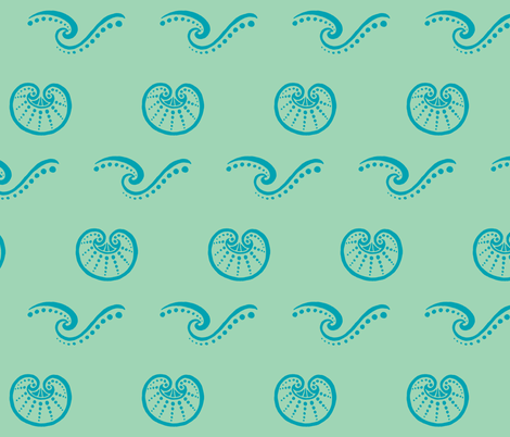 Shells and Waves aqua fabric by painter13 on Spoonflower - custom fabric