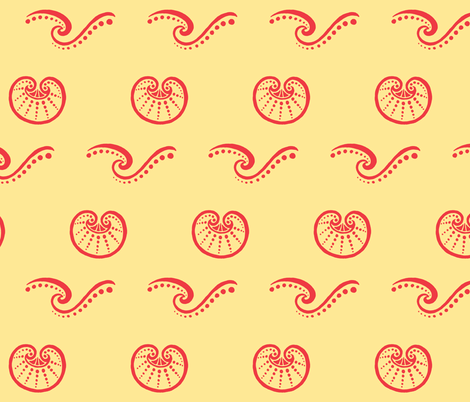 Shells and Waves coral fabric by painter13 on Spoonflower - custom fabric