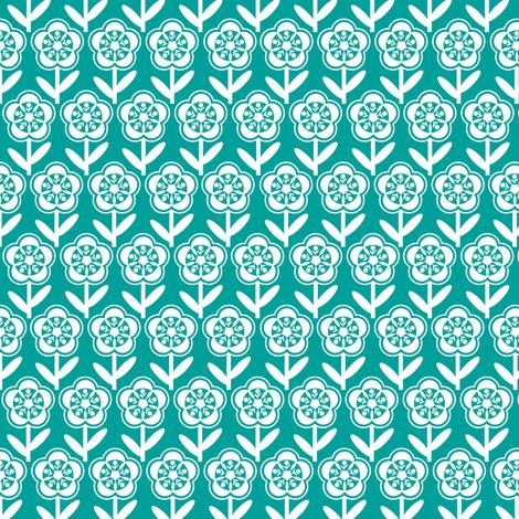 Geometric Flower - Turquoise fabric by gobennygo on Spoonflower - custom fabric