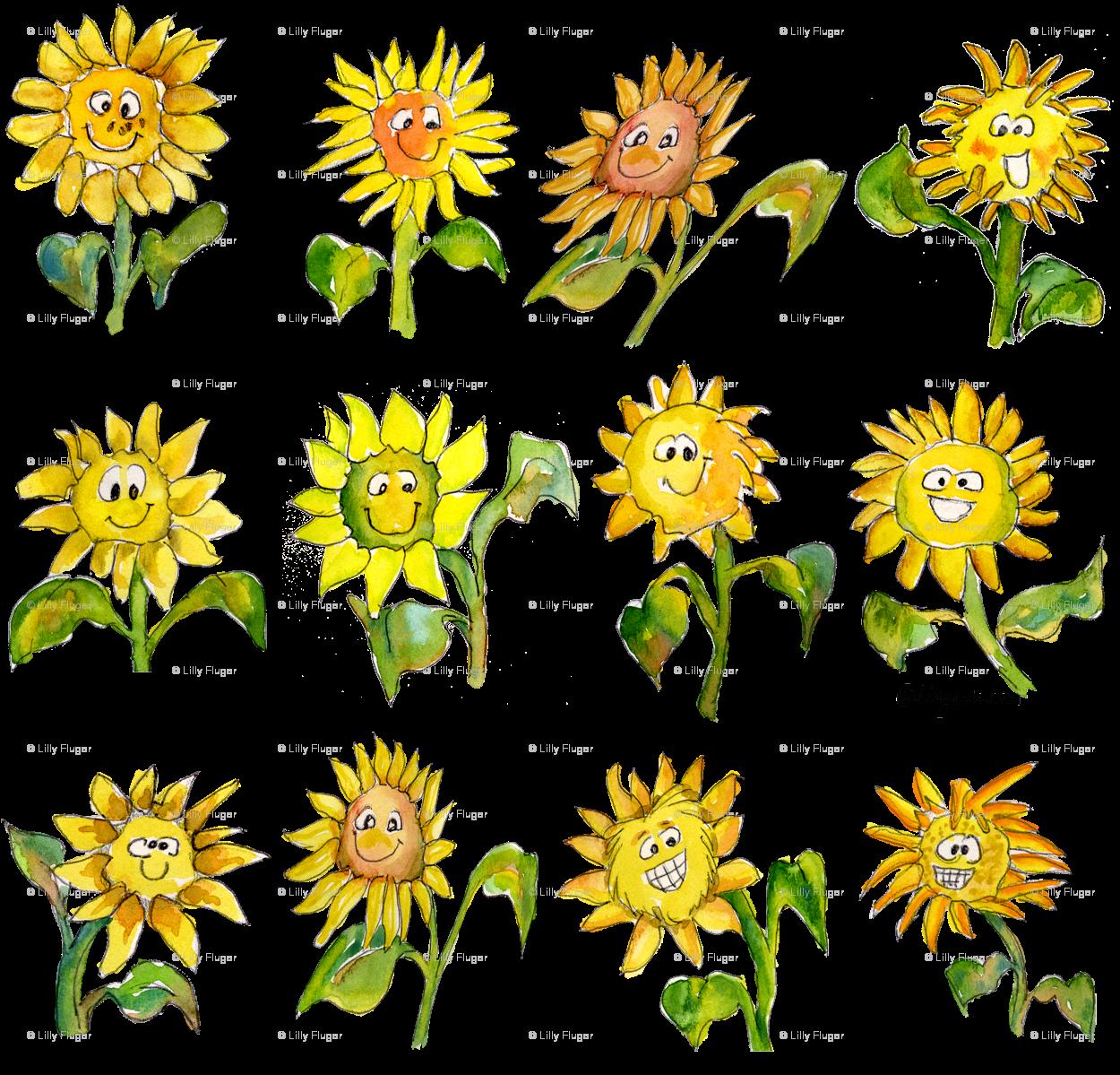 Cartoon Sunflowers Wallpaper