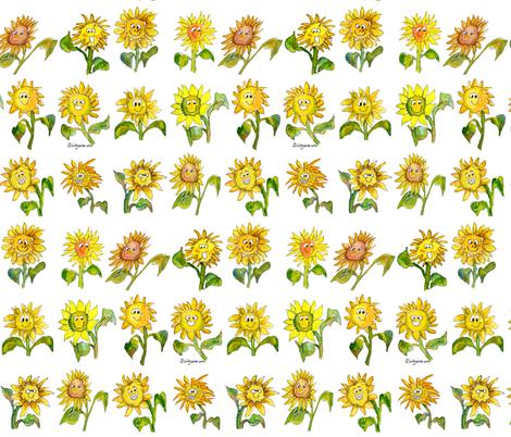 Cartoon Sunflowers Fabric By Lillyarts On Spoonflower