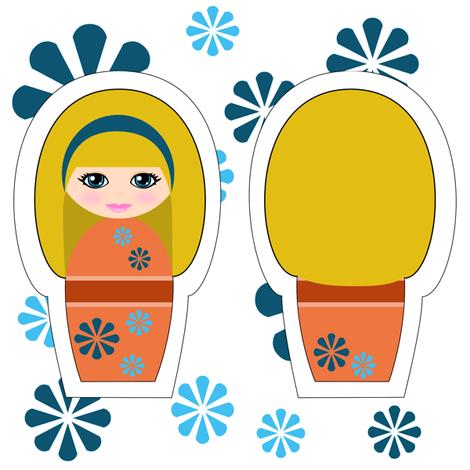 Kokeshi Blonde Swatch Toy fabric by shala on Spoonflower - custom fabric