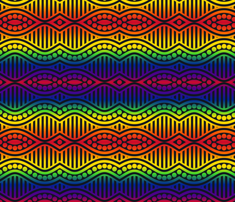 Rainbow Waves, Stripes and Dots- Dark fabric by shala on Spoonflower - custom fabric