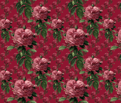 Redoute' Roses ~ Deep Rose ~ Medium fabric by peacoquettedesigns on Spoonflower - custom fabric