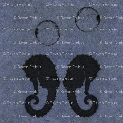 seahorse bubble blue