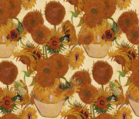 Vincent van Gogh - Vase with Fifteen Sunflowers 1888 fabric by peacoquettedesigns on Spoonflower - custom fabric