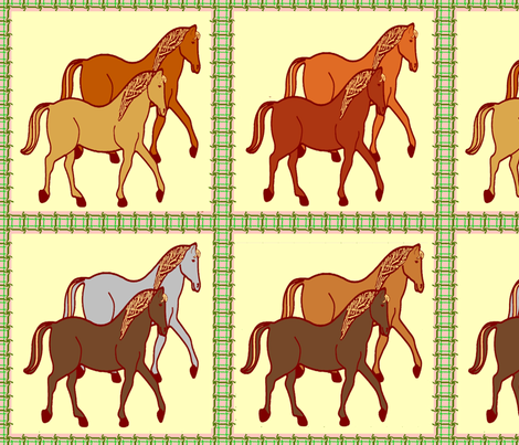 AHorseStitchedSquare2PonyShades2 fabric by grannynan on Spoonflower - custom fabric