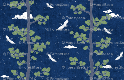 Night Sky with Pines & Cranes (large scale)