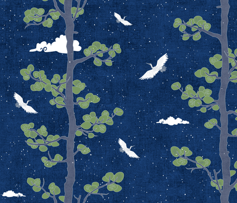 Night Sky with Pines & Cranes (large scale) fabric by forest&sea on Spoonflower - custom fabric