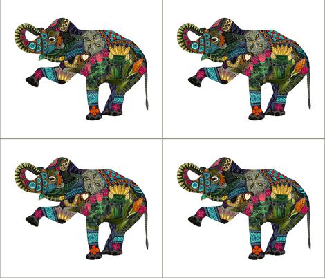 asian elephant white 4 per FQ fabric by scrummy on Spoonflower - custom fabric