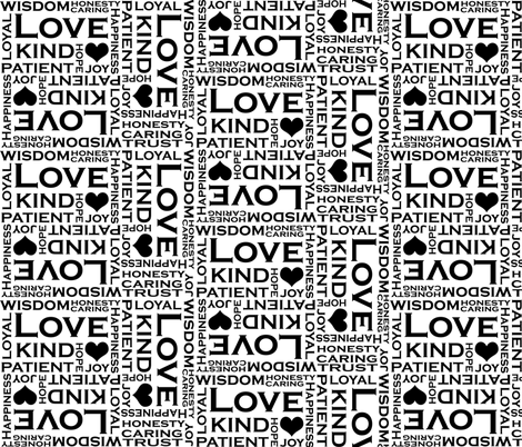 Love is Everything - black and white fabric by pearl&phire on Spoonflower - custom fabric