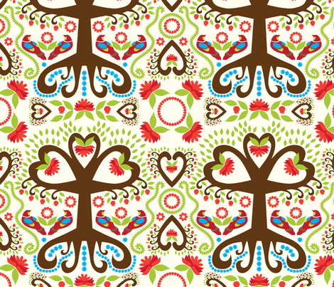 Jacobean Pomegranate Tree fabric by bbsforbabies on Spoonflower - custom fabric