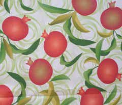 pomegranate on green swirls