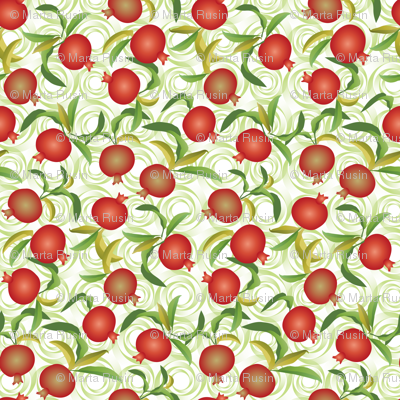 pomegranate on green swirls