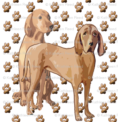 Redbone Coonhound With Pawprints fabric