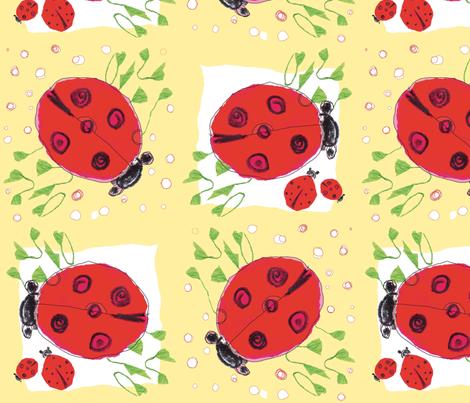 ladybug love_peach fabric by gigimoll on Spoonflower - custom fabric