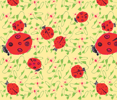 Ladybug dance peach  fabric by gigimoll on Spoonflower - custom fabric