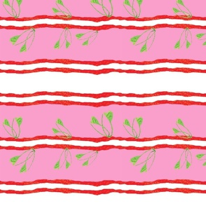 Collage leaf stripe _pink