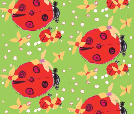 Ladybug love green  fabric by gigimoll on Spoonflower - custom fabric