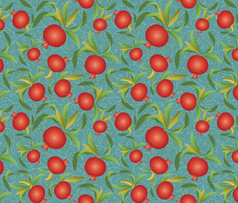 pomegranate on blue fabric by kociara on Spoonflower - custom fabric