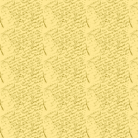 doll house collection, yellow French script fabric by karenharveycox on Spoonflower - custom fabric