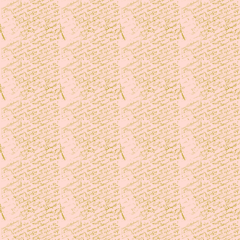 doll house collection, Peach French Script  fabric by karenharveycox on Spoonflower - custom fabric