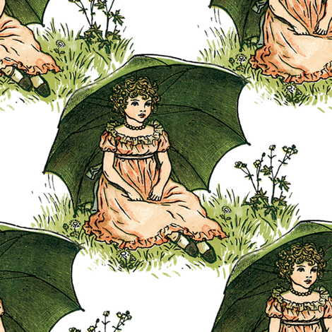 Kate Greenaway Rainy Day fabric by peacoquettedesigns on Spoonflower - custom fabric