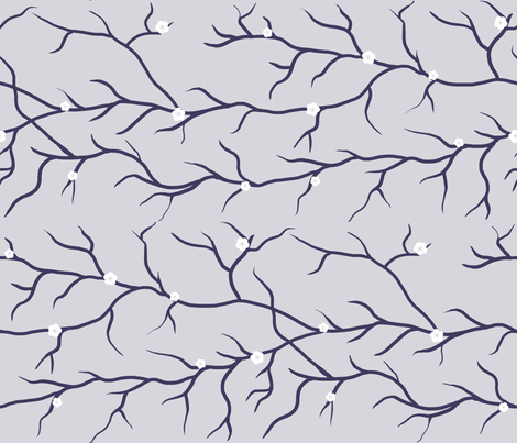 Cherry Blossom Branches - Light Purple fabric by shelleymade on Spoonflower - custom fabric