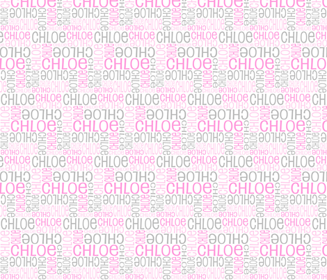 Personalised Name Fabric - SMALL Grey Pink  fabric by shelleymade on Spoonflower - custom fabric