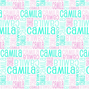 Personalised Name Fabric - Soft Greens Pinks