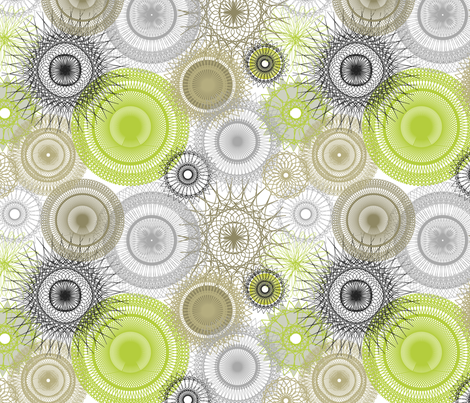 Spiral Dream _ green fabric by pearl&phire on Spoonflower - custom fabric