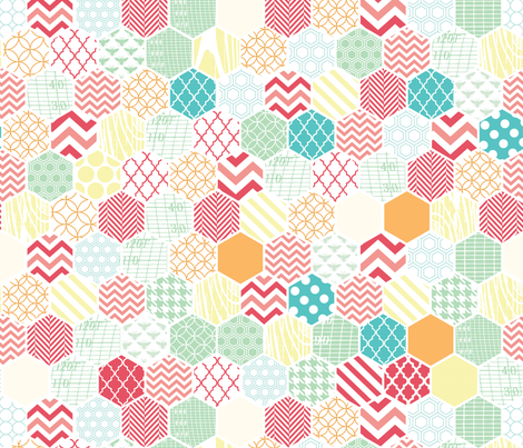 Honeycomb Multi Color Hexagons fabric by allisonkreftdesigns on Spoonflower - custom fabric