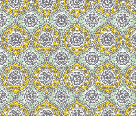 Yellow Teal Damask fabric by allisonkreftdesigns on Spoonflower - custom fabric