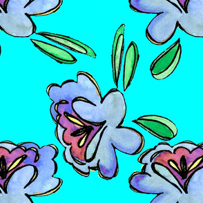 Bright Blue Watercolor Floral